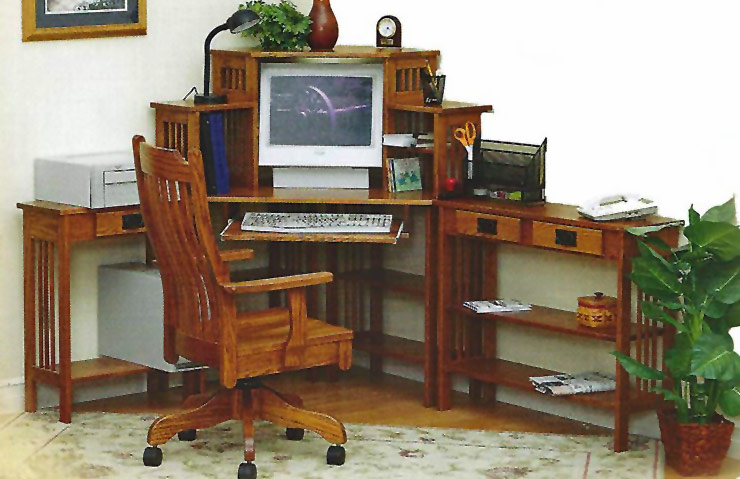 Modular Country Mission Style Corner Desk System