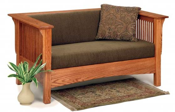 Club Style California Mission Loveseat  sc 1 st  Our American Heritage & Mission Style Upholstered Furniture in Oak Maple or Cherry islam-shia.org