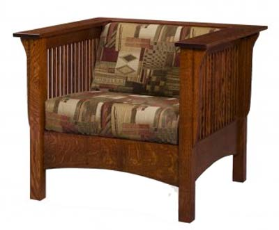 Club Style California Mission Chair - Mission Style Upholstered Furniture In Oak, Maple Or Cherry