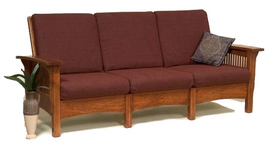 Sofa in California Mission Style (Narrow Slats) - Mission Style Upholstered Furniture In Oak, Maple Or Cherry