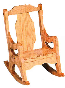 """3/"""" Wide Clothes Pin Rocking Chair Stained 7/"""" Tall Doll House Furniture"""