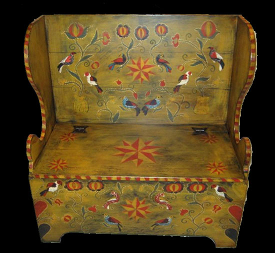 Decorated Settle Bench With Lid, Hand Forged Hinges