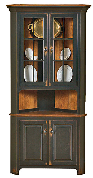 Corner Hutch Cabinets - Queen Anne Shaker Georgetown Mission Amish Country Concord Royal Mission Plymouth Styles & True Woodu0027s Lancaster Legacy Corner Cabinets