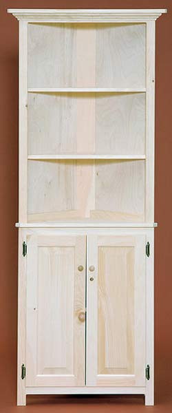 unfinished pine corner cabinet