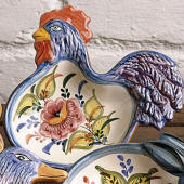 Rooster Dish, Floral
