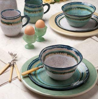 Dinner Plates are Solid Blue Green or White (Note All are Speckled) but don\u0027t have contrasting Stripes & Casafina - Sausalito Collection